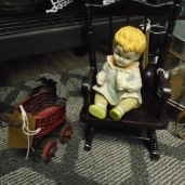 Miniature Baby Carriage $1.00 Rocking Chair w/ Baby $2.00