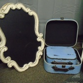 Antique Chalkboard $5.00 each / Blue suitcase set $6.00