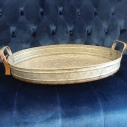 Large Oval Metal Tray 19 1/2 x 14