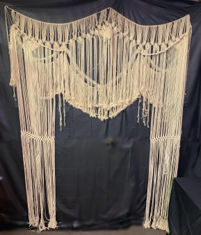 """Macrame hanging 75""""x85"""" Rental $70.00 Cleaning deposit(refundable if unstained and clean)"""