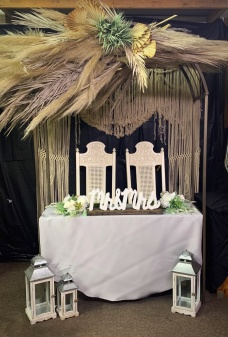 """Macrame hanging 75""""x85"""" Rental $70.00 Cleaning deposit(refundable if unstained and clean) Sweetheart Table w/ Arch 4'2"""" wide , 7'h Rental $65.00"""