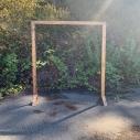 "Brown wooden altar 7'2"" x6'4""$60.00"
