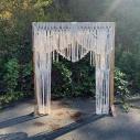"Brown wooden altar 7'2"" x6'4""$60.00 Macrame 75"" x 85""$75.00"